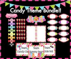 Candy Theme Bundle- Editable Newsletter Template, Editable Labels, Behavior Clip Chart Set and Team Signs!