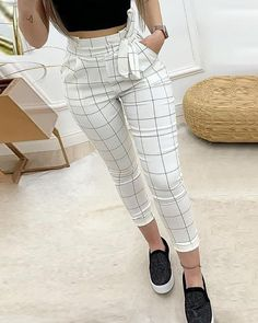 Women Plaid High Waist Skinny Pencil Drawstring Ankle-length Pants - School Clothes - Want - Fashions Mode Outfits, Trendy Outfits, Fall Outfits, Summer Outfits, 30 Outfits, Chic Outfits, Trend Fashion, Fashion Tips, Womens Fashion