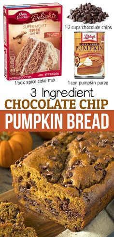 Cake Mix Desserts, Cake Mix Cookie Recipes, Fall Desserts, Just Desserts, Delicious Desserts, Dessert Recipes, Yummy Food, Cake Mixes, Pumpkin Chocolate Chip Bread