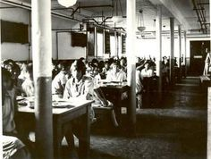 Children's dining room, Indian Residential School, Edmonton, Alberta. Between 1925-1936. United Church Archives, Toronto, From Mission to Partnership Collection.