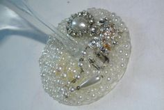 White Pearl Wine Glass by hartleyandsoul on Etsy, $15.00