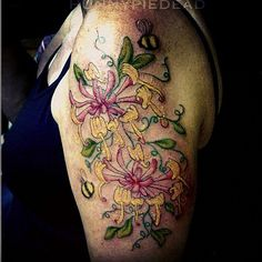 #honeysuckle #tattoo done at the #eastcoasttattooexpo #flowers #bees | Flickr - Photo Sharing!