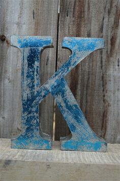 MEDIUM VINTAGE STYLE 3D BLUE K SHOP SIGN LETTER TIN WALL ART LETTER FONT 8 INCH #VINTAGERETRO