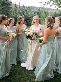 38 Beautiful Spring Bridesmaids' Dresses: mint-colored maxi bridesmaids' dresses