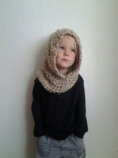 Hooded Cowl. Kids Crochet Cowl. Crocheted Neck Warmer with Hood.