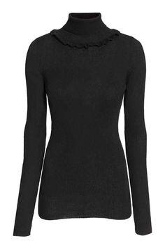 Camisola gola alta com folho   H&M