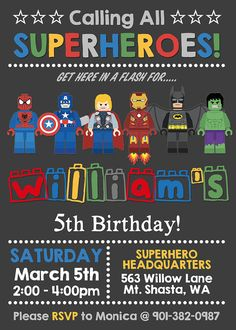 Lego superhero birthday invitation personalized by NiteLiteDesign Superhero Birthday Invitations, Fourth Birthday, Superhero Birthday Party, Boy Birthday, Lego Invitations, Lego Batman Party, Avengers Birthday, Baby Kind, Lego Marvel