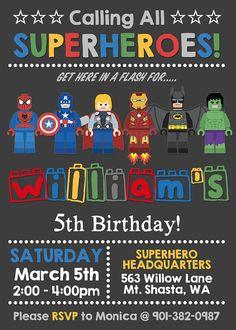 Vielen Dank für Ihren Besuch auf meinem Shop! Ein Teil aller Einnahmen sind die folgenden Tierschutzorganisationen - vielen Dank für Ihre Aufmerksamkeit schenkte. :) US Humane Society: www.hsus.org ASPCA: www.aspca.org Soi Dog Foundation: savedogs.soidog.org WAS IST DAS: Dieses Angebot gilt für eine tolle Lego Superhelden Geburtstagseinladung, die Ihr Kind lieben wird! Auch erhältlich mit nur-Avengers-Zeichen (auf Anfrage). Mit Ihrem Kauf erhalten Sie eine JPEG und eine optionale Druckver...