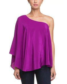 Jay Godfrey Purple Silk One-Shoulder Blouse is on Rue. Shop it now.