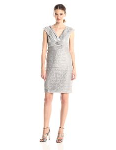 Shutter Sheath Dress with Broach Detail by London Times