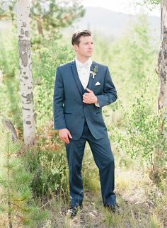 Mountain Groom in a Three Piece Navy Suit | Connie Whitlock Photography | http://heyweddinglady.com/rustic-elegance-ranch-wedding-shoot-dusty-blue/ 