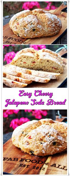 Easy Cheesy Jalapeno Soda Bread, delicious and perfect with soup! Fab Food 4 All