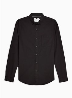d64b70e4402c8f Mens Black Stretch Skinny Oxford Shirt