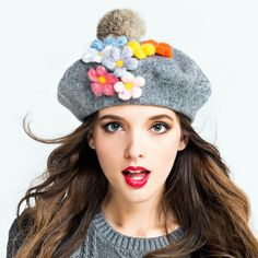 Winter Warm 100% Wool Women's Top Fur Ball pom poms Beret Hat For Laday Artist Embroidery Cap With Handwork Flower beanie Cap 20