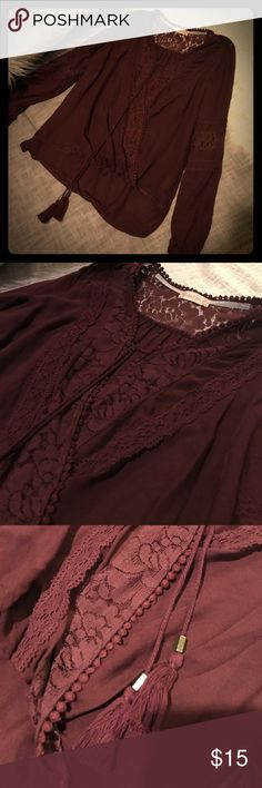 Altar'd state blouse size small Burgundy boho style blouse with beautiful lace detail, criss crosses in the front. High low style. Altar'd State Tops Blouses