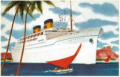 White Liner red sails SS Matsonia reproduction promotional postcard
