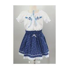 Kislány ruha együttes, hímzett blúzzal, kék Rompers, Clothes, Dresses, Fashion, Outfits, Vestidos, Moda, Clothing, Fashion Styles