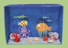 Ocean Crafts, Fish Crafts, Diy And Crafts, Arts And Crafts, Kids Aquarium, Aquarium Craft, Tropical Aquarium, Cardboard Box Crafts, Paper Crafts