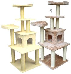 """Heaven Cat Condo  - Overall size 28""""Lx28""""Wx64""""H  - Covering materials Faux Fur or Faux Sheepskin  - Board material Pressed Wood  - Base 23.5""""x23.5""""  - One cat condo 14""""Lx14""""Wx10""""H, with two 8"""" x 8"""" entries  - Two comfortable nests 14""""x14""""x3.5""""   - Eight sisal cat scratching posts. They measure 3.5"""" and are wrapped in 1/4"""" sisal rope"""