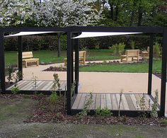 Chris Nangle Furniture: Charred FSC green oak garden cube with Hyper shade sail 3 of 3