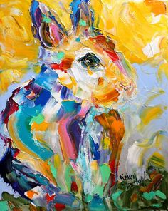 Fine Art Print Spring Rabbit abstract made from image of oil painting by Karen Tarlton