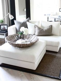 White loveseat- if only my husband, dog, and soon-to-be-child could keep this white. Living Room Interior, Home Living Room, Living Room Decor, Living Spaces, Living Room Inspiration, Home Decor Inspiration, Ottoman Inspiration, Estilo Interior, White Couches