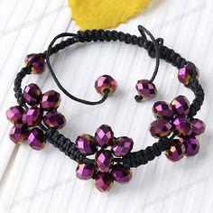 "Purple Crystal Glass Beads Woven Flowers Bracelet Macrame 10""L Adjustable | eBay"