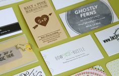 Business Card Inspiration gathered by Brittni of Papersnitch at Alt Summit (someday I will go...)
