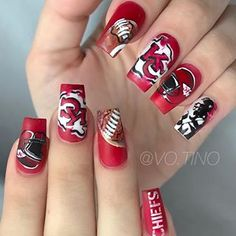 I'm ready for the Super Bowl 🏟 which sport fan are you? Use gel color at Football Nail Designs, Football Nails, Chiefs Football, Nail Polish Designs, Nail Art Designs, Gorgeous Nails, Pretty Nails, City Nails, Short Nails Art
