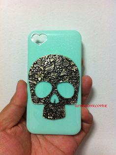 Luxury skull iPhone 4 Case, iPhone 4s Case, skull Iphone Cases, iPhone Case 4, heart shape case Hard Case Cover. $15.99, via Etsy.