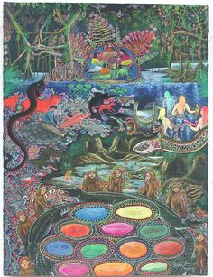 ayahuasca art. Incredible colors, scenes and is that bigfoots too~