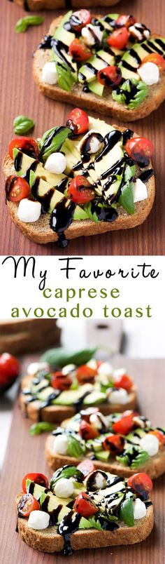 Caprese Avocado Toast is my go to, healthy snack! Full of good for you ingredien… Caprese Avocado Toast is my go to, healthy snack! Full of good for you ingredients, this snack is ready in 10 minutes and easy enough to feed a crowd! Healthy Breakfast Recipes, Healthy Snacks, Healthy Eating, Healthy Recipes, Breakfast Ideas, Breakfast Toast, Avocado Breakfast, Vegetarian Snacks, Best Avocado Toast Recipe