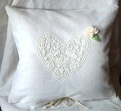 big pillow linen and lace