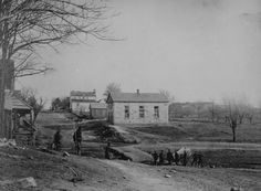 Centreville, Va (April 1862): Union Soldiers guarding Main Street and a Church. Taken by George N. Barnard and James F. Gibson.