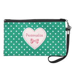 Emerald Green Heart With Name Wristlet Purses $49.95 #ohsogirly #fashionaccessories #giftsforher