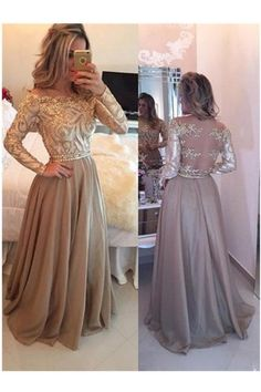 A-Line Cowl Gold Long Prom Dresses,Long Sleeves Evening Dress,prom dress long,long sleeve prom dresses