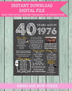 40 Years Ago Chalkboard Sign Digital File by EmmaSueBowtique 40th Birthday Cakes For Men, Man Birthday, Birthday Ideas, S'mores Bar, Bar Menu, Chalkboard Signs, Chalkboards, 40 And Fabulous, Diy Signs