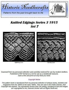 Knitted Lace Edgings Needlecraft Series 3 Set 7 by KnittyDebby