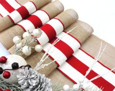 French Stripes Christmas Table Runner - Winter Wedding Table Decor - Read and White Table Runner French Country Christmas decoration Christmas Table Mats, Christmas Runner, Country Christmas Decorations, French Country Christmas, Rustic Christmas, Christmas Ideas, Striped Table Runner, Burlap Table Runners, Wedding Table Centerpieces