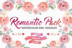 Romantic Pack.Watercolor and Doodles @creativework247