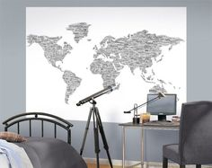 Black  White  Peace Love World Map Easy Up Mural - Wall Sticker Outlet