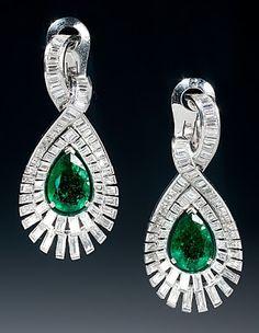 Art Deco emerald and diamond earrings, by J. Bondt, Paris, circa 1937