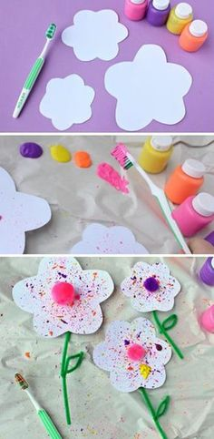 des fleurs en papier blanc, technique deco brosse à dents et peinture, activité manuelle primaire, maternelle, bricolage enfant printemps facile