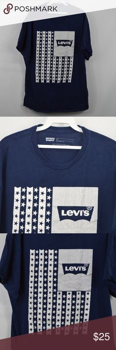 6871a3ed71 Levis Mens XL Spell Out Flag T Shirt Navy Blue Levis Flag Graphic T Shirt T