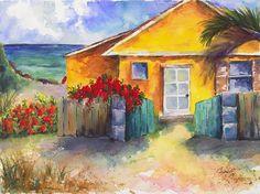 Island Beach House by Barb Capeletti Beach Watercolor, Watercolor Print, Watercolor Paintings, Original Paintings, Beach Paintings, Watercolor Ideas, Watercolours, Jig Saw, Tropical Beach Houses