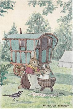Bunny having a bath outside its (gypsy?) caravan illustration by Margaret Tempest