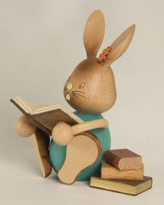 Easter Bunny Rabbit Reading a Book German Wood Figurine Made Erzgebirge Germany by Pinnacle Peak Trading Company for sale online