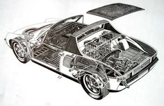 Porsche 914-6 cutaway by Shin Yoshikawa