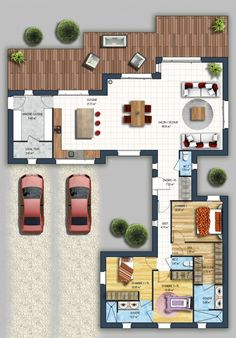 constructeur maison moder - Home Decora La Maison Home Design Plans, Plan Design, House Map, Sims House, Architecture Plan, Modern House Design, House Floor Plans, Home Builders, Home Projects