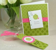 Card & Bookmark Gift Ensemble by Nichole Heady for Papertrey Ink (July Teacher's Apple How To Make Scrapbook, Scrapbook Cards, Scrapbooking, Kids Cards, Craft Cards, Teacher Cards, Up Book, Card Making Inspiration, Card Sketches